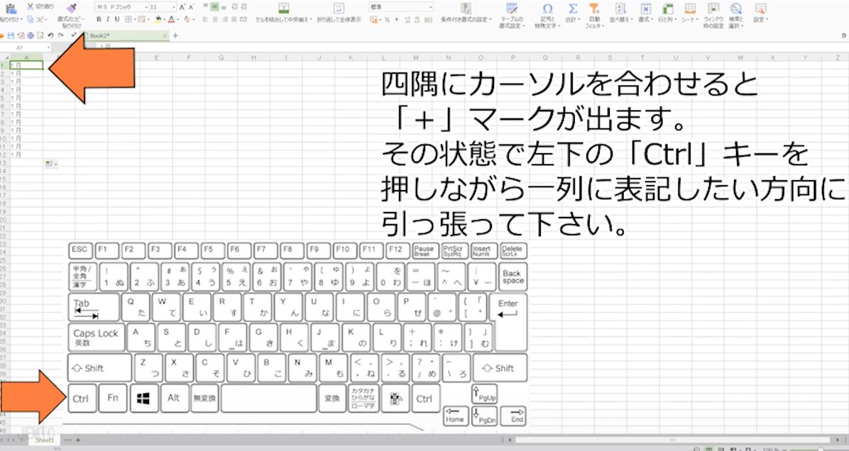 表計算ソフトで月日や数字を一列で表記する方法